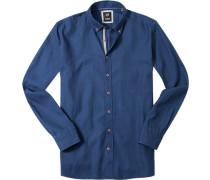 Herren Hemd Modern Fit Strukturgewebe marine gemustert blau