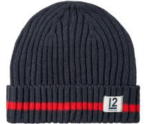 Mütze Polyacryl rauchblau-rot