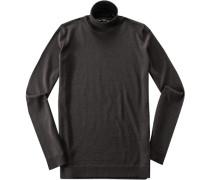 Pullover Slim Fit Merino extrafine dunkelbraun meliert