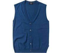 Pullover Weste Slim Fit Merinowolle kobaltblau meliert