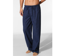 Herren Pyjama-Hose Baumwolle blau kariert