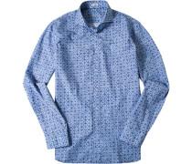 Hemd Slim Fit Popeline jeansblau gemustert