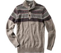 Pullover Troyer Baumwoll-Merinowoll-Mix graubraun