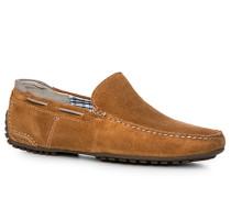 Schuhe Mokassin, Veloursleder, camel