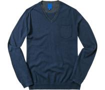Herren Pullover Baumwolle-Kaschmir-Mix navy blau