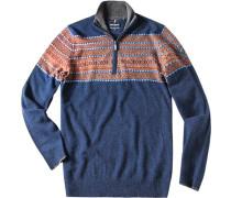 Herren Pullover Troyer Woll-Mix marine-camel gemustert blau
