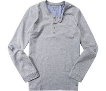 Schlafanzug Pyjama-Oberteil Baumwolle meliert