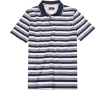 Polo-Shirt Polo Baumwolle mercerisiert weiß- gestreift