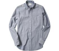 Hemd Regular Fit Baumwolle royal-weiß meliert