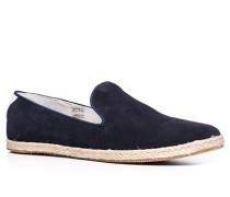 Schuhe Slipper Veloursleder nachtblau