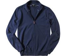 Cardigan Regular Fit Baumwolle marineblau
