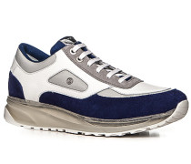 Herren Schuhe Sneaker Leder-Mix königsblau-weiß blau,grau