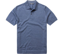 Herren Polo-Shirt Schurwollstrick blau meliert