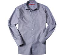 Herren Hemd Classic Fit Strukturgewebe nachtblau-weiß gemustert