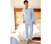 Herren Schlafanzug Pyjama Baumwolle hellblau-weiß weiß,blau
