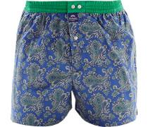 Herren Unterwäsche Boxershorts Baumwolle royal-hellgrün paisley blau