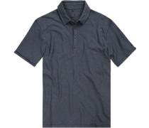 Polo-Shirt Polo Baumwolle rauchblau meliert