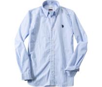 Hemd, Regular Fit, Popeline, hellblau-weiß gestreift
