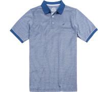 Polo-Shirt Polo Modern Fit Baumwoll-Jersey royal-weiß gemustert