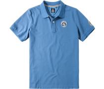 Polo-Shirt Polo Baumwoll-Piqué Mit Druck am Rücken pastellblau