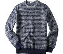 Herren Pullover Woll-Mix marine-grau gemustert blau