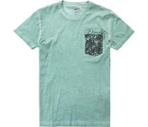 Herren T-Shirt Slim Fit Baumwolle seegrün meliert