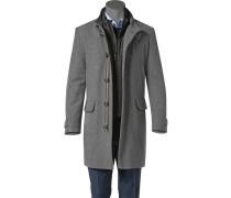 Herren Mantel Woll-Kaschmir-Mix wattiert grau meliert grau,blau