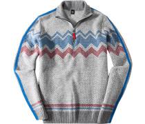 Pullover Troyer Regular Fit Schurwolle-Kaschmir-Mix -capriblau gemustert