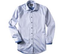 Hemd Modern Fit Fischgrat weiß-royal gepunktet