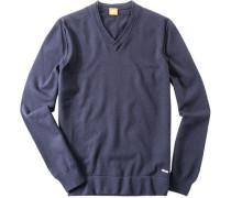Herren Pullover Baumwoll-Mix navy blau