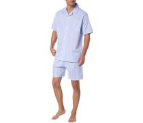 Schlafanzug Pyjama, Baumwolle, hellblau-weiß gestreift