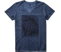 Herren T-Shirt Baumwolle marine meliert blau