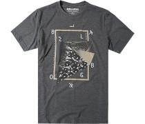 Herren T-Shirt Tailored Fit Baumwoll-Mix anthrazit meliert grau