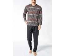 Herren Schlafanzug Pyjama Baumwolle dunkelbraun-koralle gestreift
