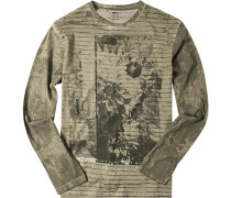 Herren T-Shirt Longsleeve Baumwolle khaki-dunkelgrün gemustert