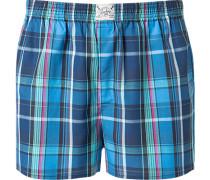 Unterwäsche Boxer-Shorts Baumwolle marineblau-grün kariert
