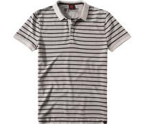 Polo-Shirt Polo Baumwoll-Piqué hellgrau gestreift