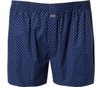 Schlafanzug Pyjamashorts, Baumwolle, navy gemustert