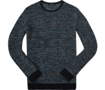 Pullover Baumwolle nachtblau-weiß meliert