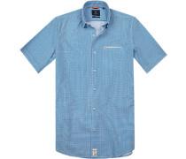 Hemd Modern Fit Popeline azurblau-weiß gemustert
