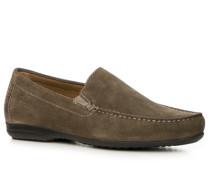 Schuhe Slipper Kalbveloursleder graubraun