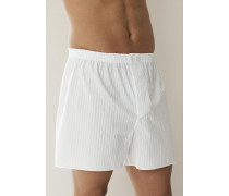 Schlafanzug Boxer-Shorts Baumwolle merzerisiert hellblau oder weiß ,weiß