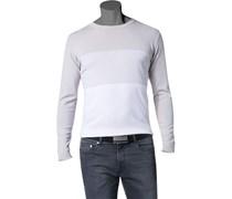 Herren Pullover Baumwolle beige-weiß gestreift