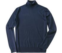 Rollkragenpullover Schurwolle dunkelblau