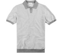 Polo-Shirt Polo Baumwoll-Strick weiß- gemustert