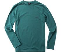 Herren Schlafanzug Longsleeve Baumwoll-Stretch dunkelgrün meliert