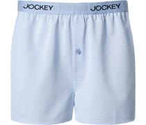 Herren Unterwäsche Boxershorts Baumwoll-Stretch hellblau-weiß gestreift
