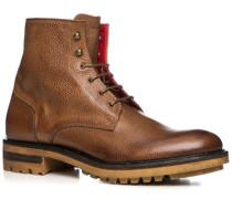 Herren Schuhe Schnürstiefeletten Leder geprägt cuoio braun,rot