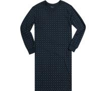 Nachthemd Baumwolle nachtblau-jeansblau gemustert