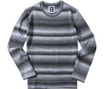Herren Pullover Pulli Modern Fit Schurwoll-Mix schwarz-grau gestreift